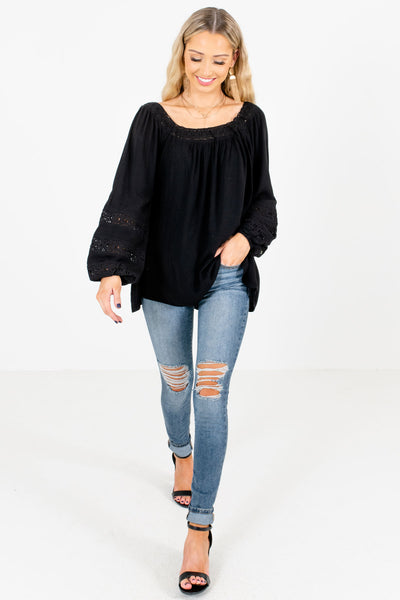 Black Cute and Comfortable Boutique Tops for Women