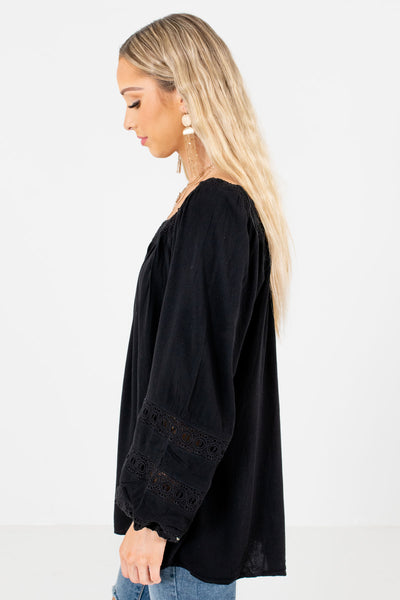Black Pleated Accented Boutique Tops for Women