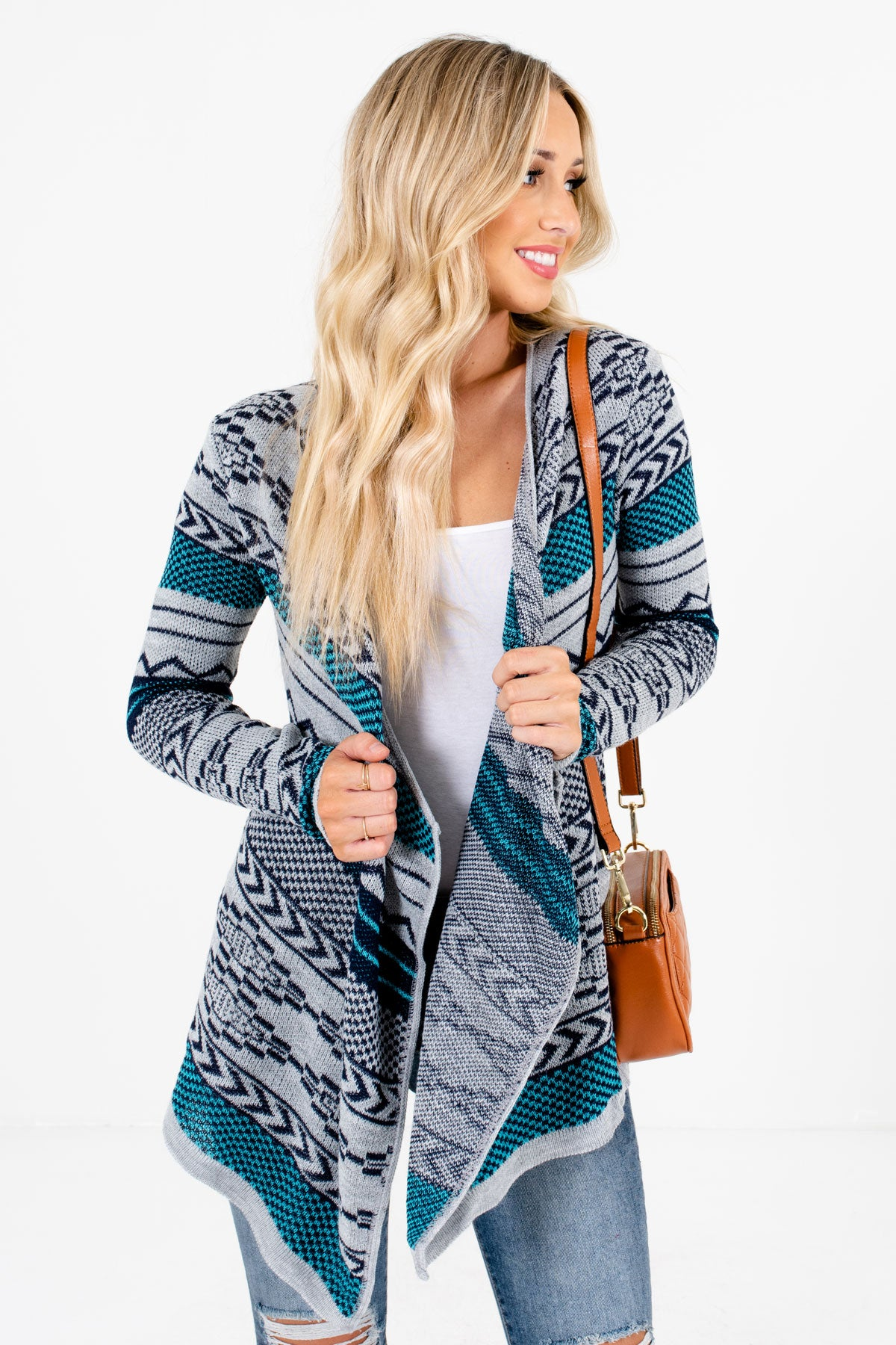 Blue Multicolored Patterned Boutique Cardigans for Women