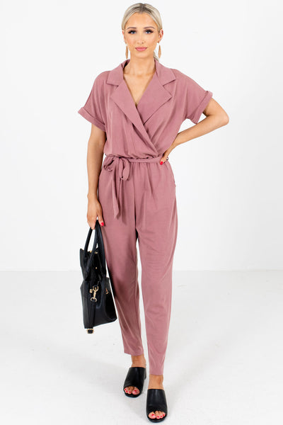Mauve Faux Wrap Bodice Boutique Jumpsuits for Women