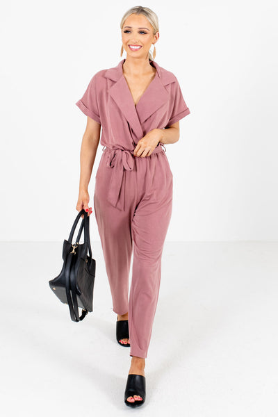 Women's Mauve Shirt Collar Boutique Jumpsuit