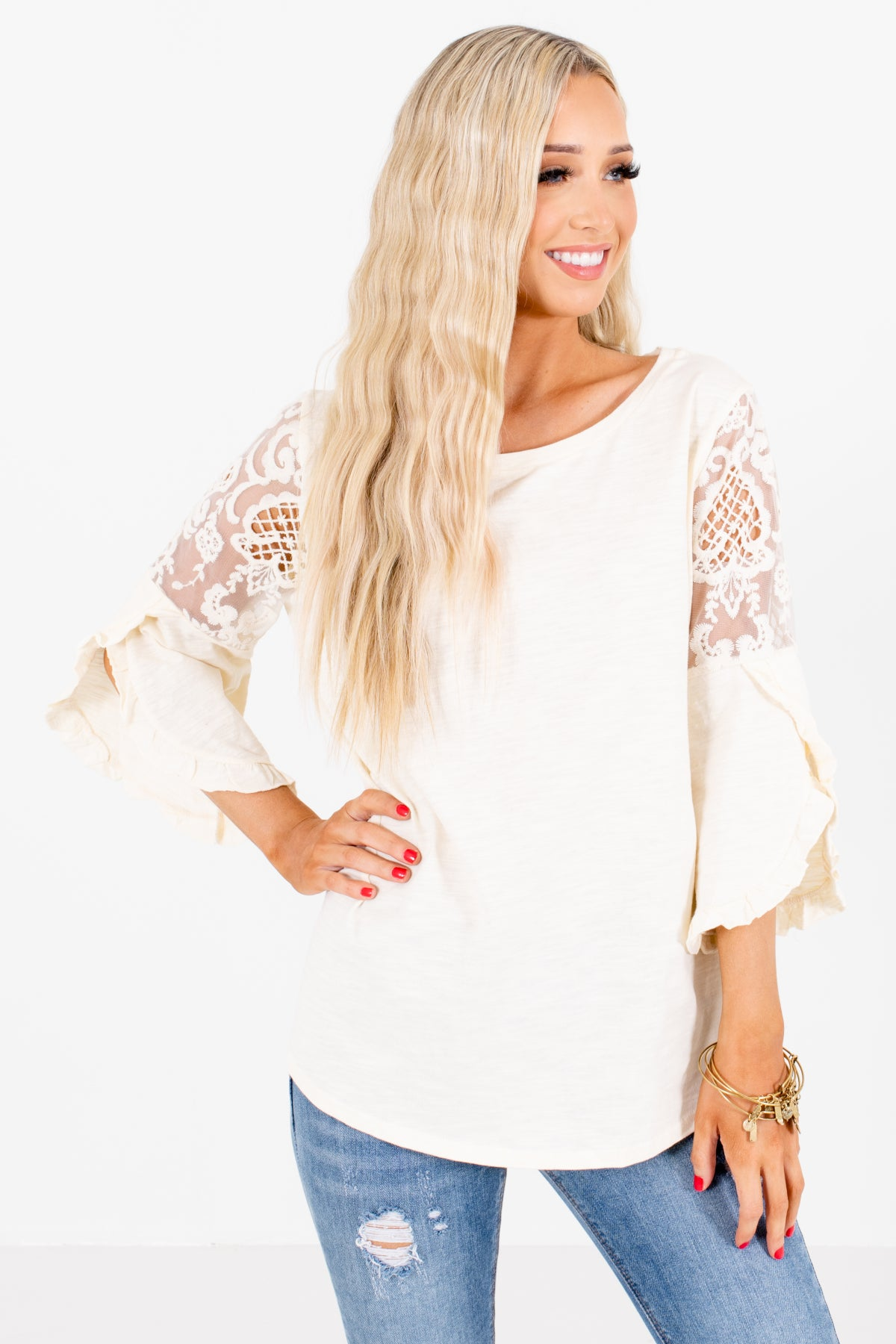 Cream Lace Detailed Boutique Blouses for Women