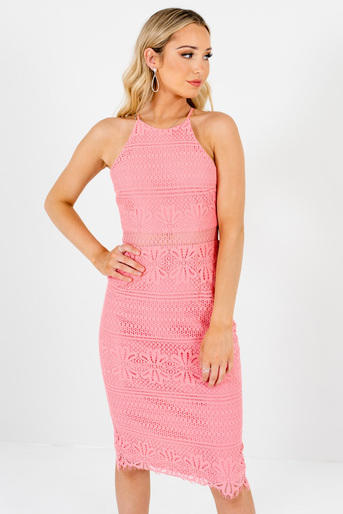 Pink Crochet Lace Overlay Knee-Length Dresses Affordable Online Boutique