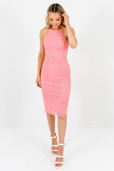 Pink Crochet Lace Overlay Halter Knee-Length Dresses