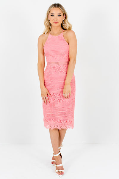 Pink Lace Knee Length Dresses Affordable Online Boutique Party Outfits