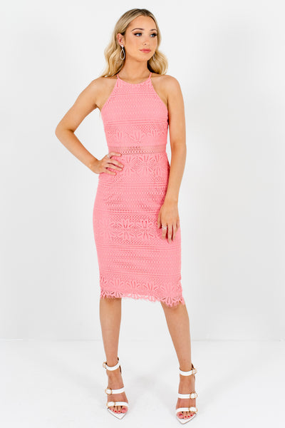 Pink Crochet Lace Overlay Knee Length Dresses Boutique