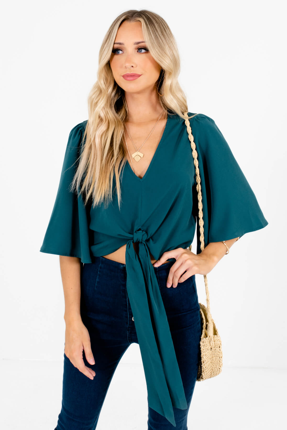 Emerald Green Tie Front Detail Boutique Tops for Women