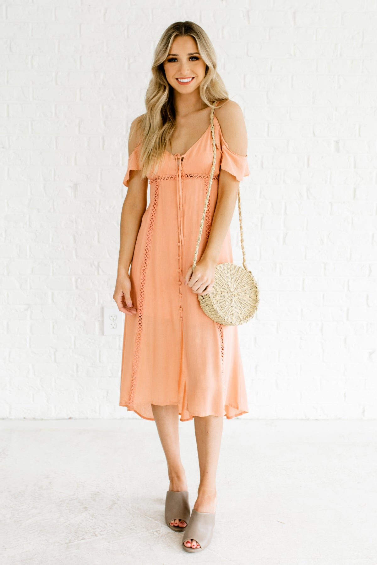 search for clearance vivid and great in style 100% satisfaction You're a Peach Pink Cold Shoulder Midi Dress