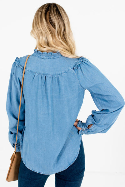 Women's Blue Ruffle Accented Boutique Tops