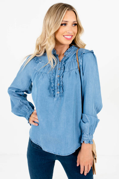 Blue Chambray Long Sleeve Boutique Tops for Women