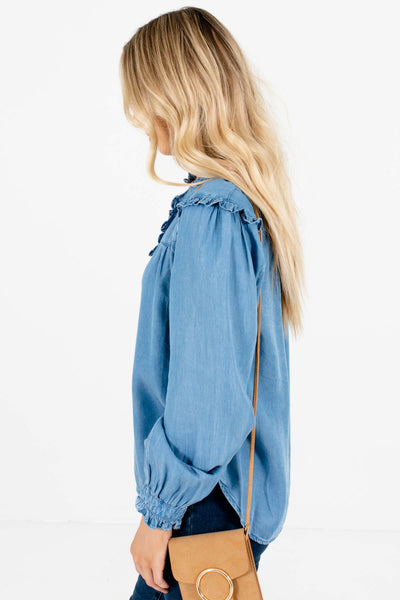 Blue Pleated Accented Boutique Tops for Women