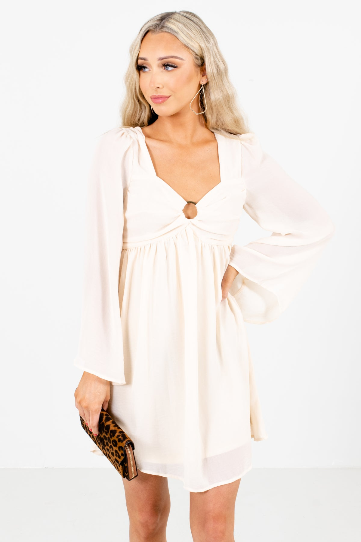 Cream Circle Neckline Accented Boutique Mini Dresses for Women