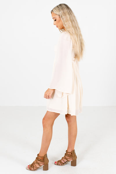 Cream Wide Sleeve Boutique  Mini Dresses for Women