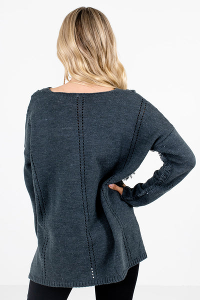 Women's Charcoal Gray V-Neckline Boutique Sweater