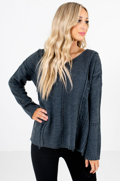 Charcoal Gray Cutout and Frayed Accented Boutique Sweaters for Women