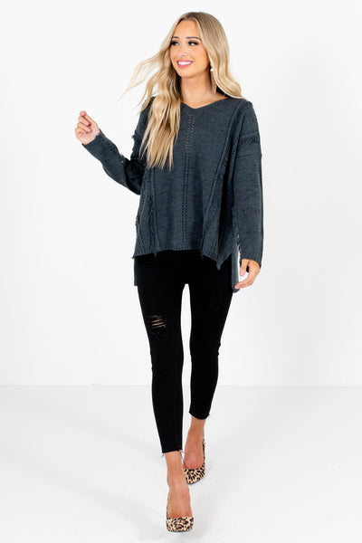 Women's Gray Cute and Comfortable Boutique Sweater