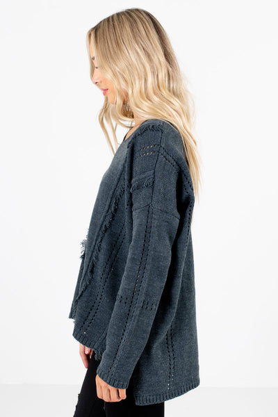 Gray High-Low Hem Boutique Sweaters for Women
