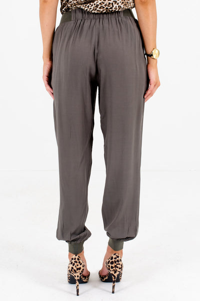 Women's Olive Green Boutique Pants with Pockets