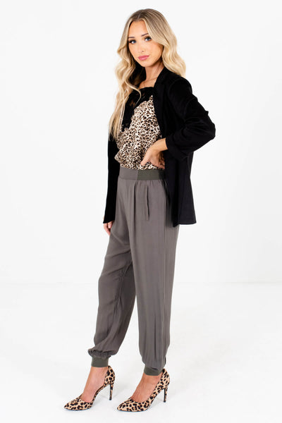 Women's Olive Green Business Casual Boutique Pants