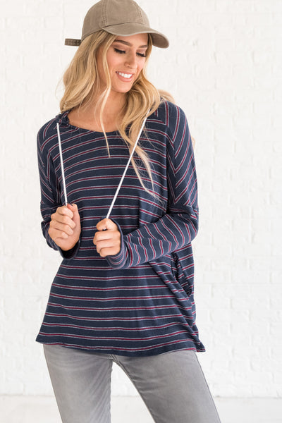 boutique hoodie with stripes