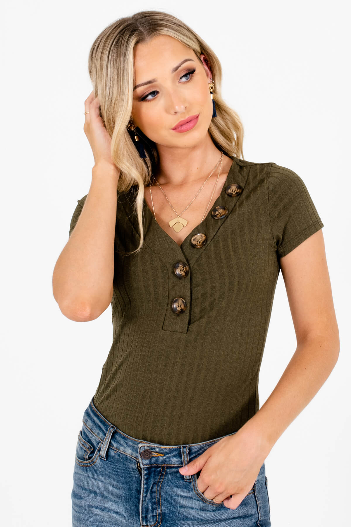 Olive Green Ribbed Material Boutique Bodysuits for Women
