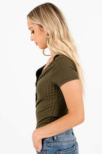 Olive Green Hugging Fit Boutique Bodysuits for Women