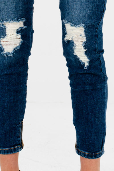 Dark Wash Denim Blue Affordable Online Boutique Clothing for Women