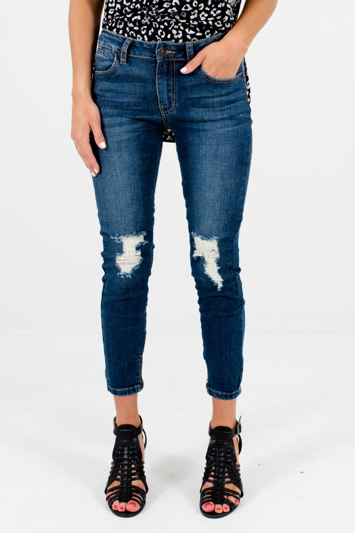 Dark Wash Denim Blue Distressed Boutique Skinny Jeans for Women