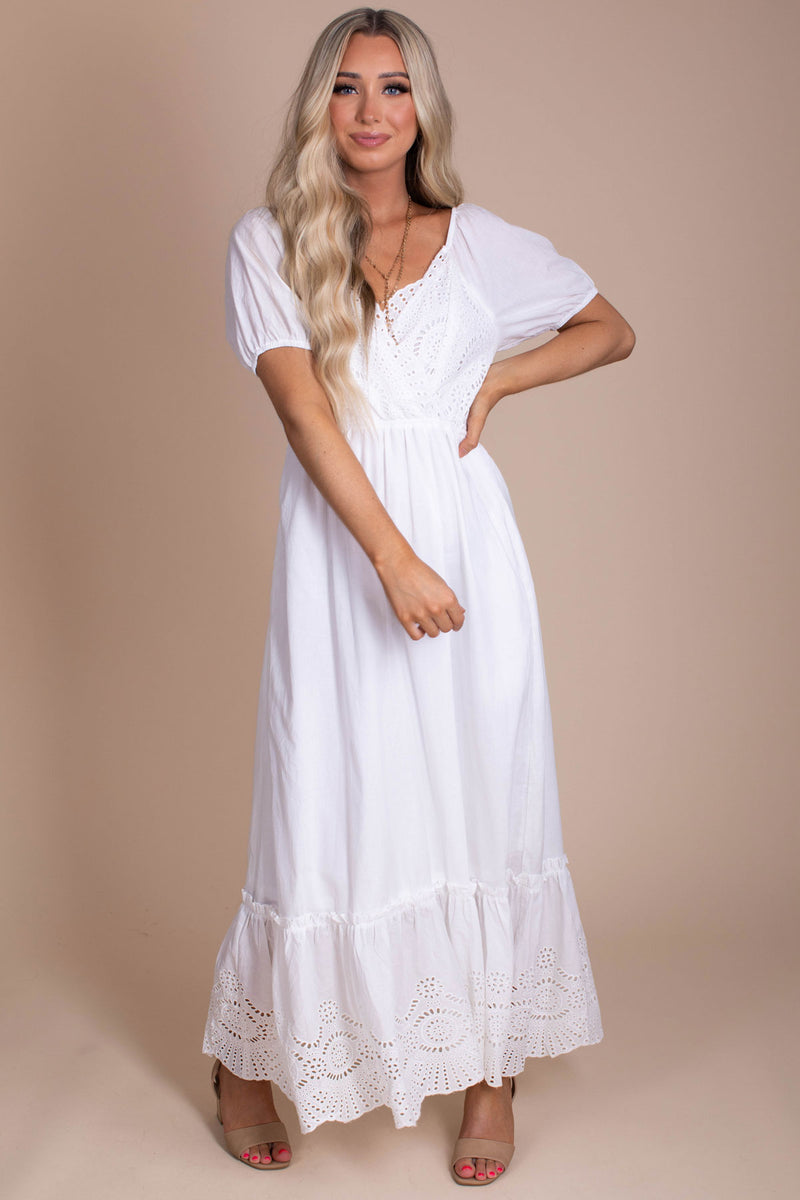 All The Possibilities Eyelet Detail Maxi Dress - White
