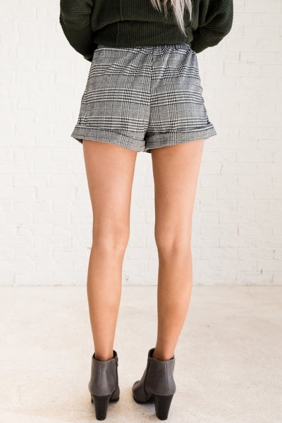 Black White Plaid Houndstooth Cute High Waisted Shorts