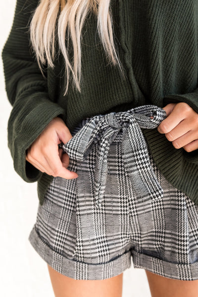 Black White Plaid Tie Front High Waisted Dressy Short Shorts
