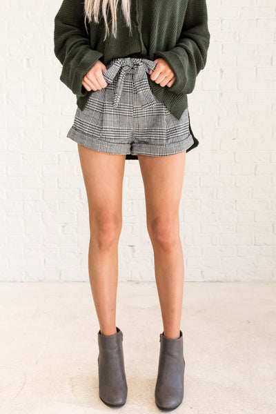 Black and White Plaid Tie Front High Waisted Shorts for Fall