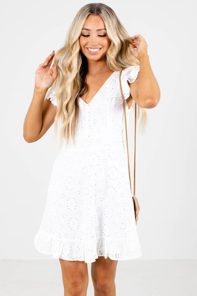 At The Ritz Lace Mini Dress - White