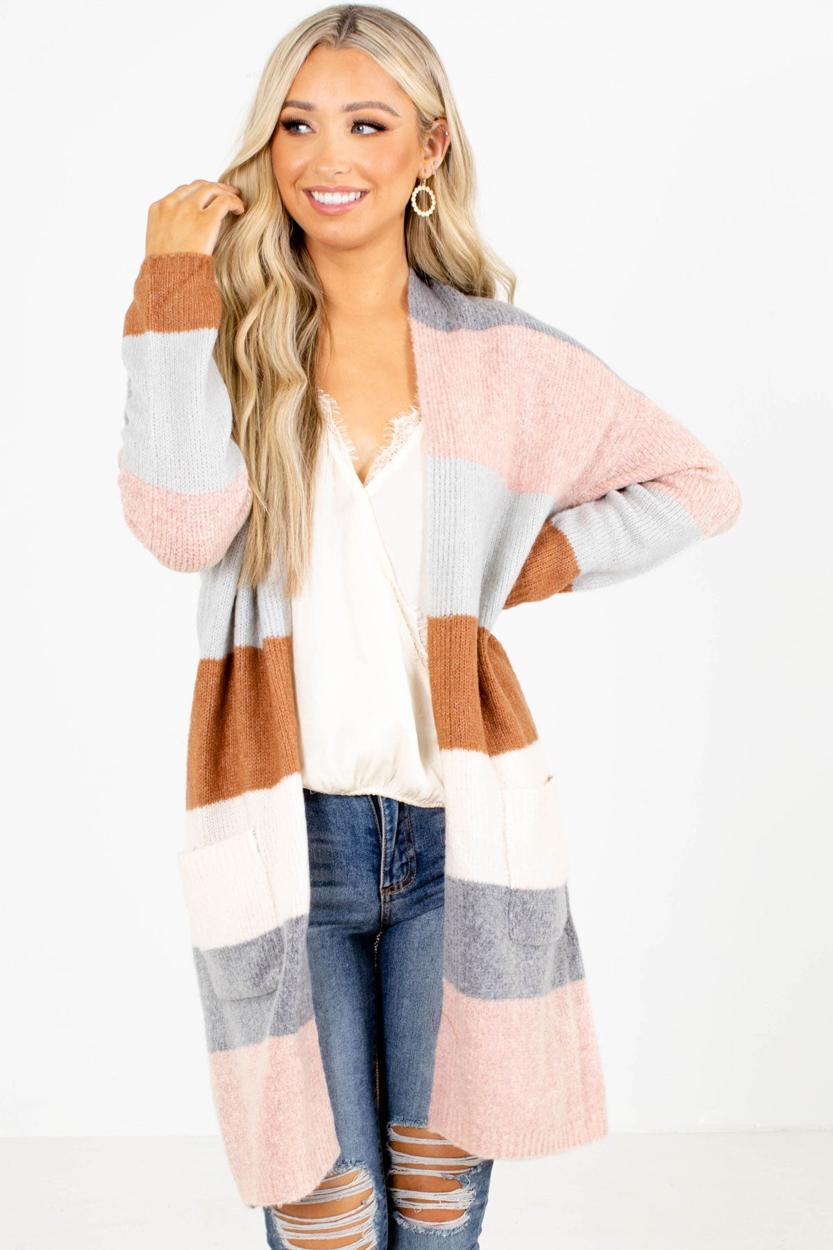 Striped Cardigan For Women