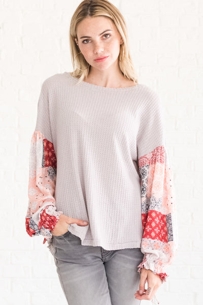 Gray Boho Bandana Lantern Sleeve Flowy Peasant Tops for Women