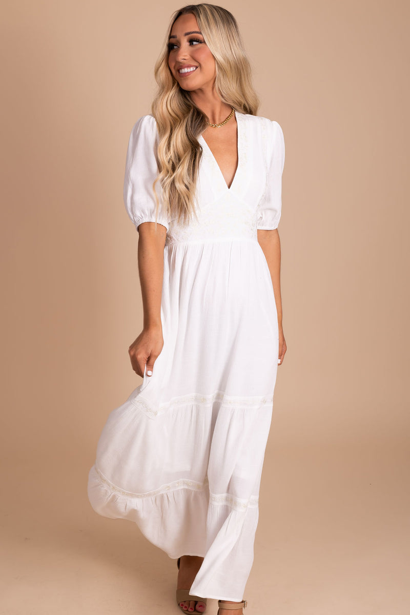 Be A Wildflower Maxi Dress - White