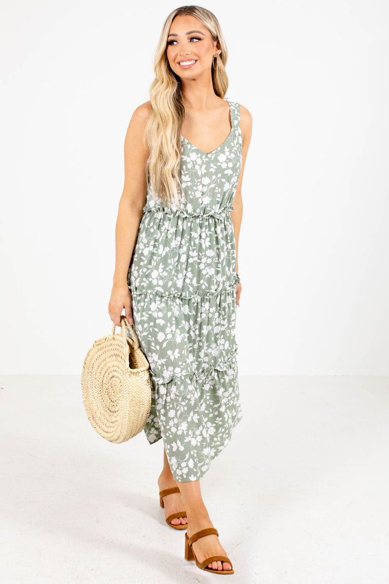 Beach Buddy Floral Midi Dress - Green