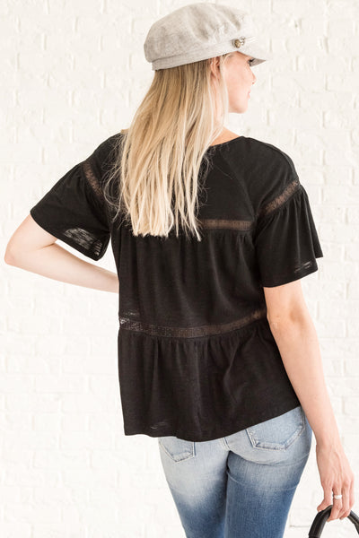 Black Crochet Lace See Through Cut Out Tops and Blouses