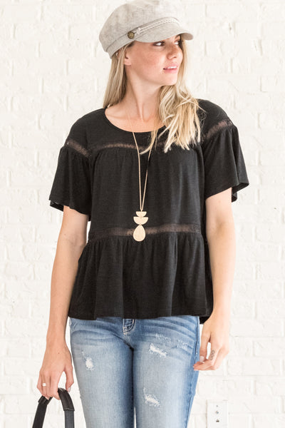 Black Boho Crochet Lace Pleated Tops for Women
