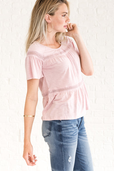 Pink Cute Going Out Tops with Striped Lace Accents