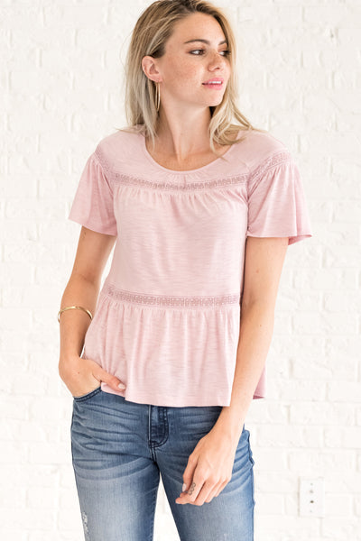 Blush Pink Crochet Lace Pleated Peasant Boho Tops