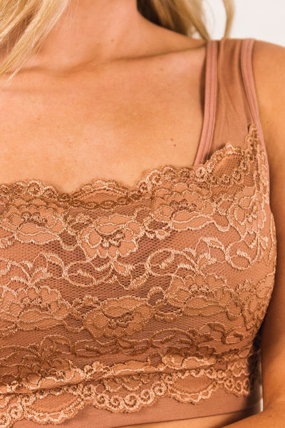 Beige Eggshell Brown Floral Lace Scalloped Sports Bra Style Bralettes