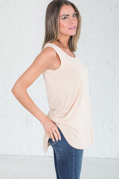 Pale Orange Peach Beige Neutral Tank Tops from Affordable Online Boutique