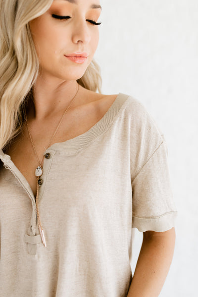 Heather Beige Affordable Online Boutique Tops with High Low Hem Button Up Collar