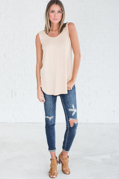 Peachy Orange Beige Nude Soft Tank Tops for Workout and Layering