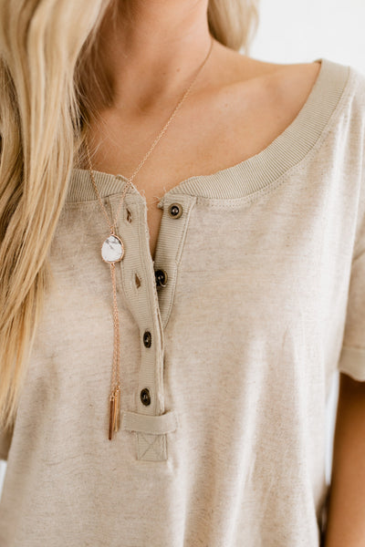 Heather Beige Button Up Collar Boutique Tops with High Low Hem