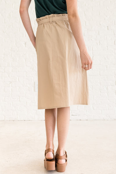 Beige Brown Khaki High Waisted Midi Skirt with Pockets
