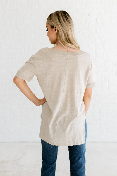 Heather Beige Nude Natural Tee T Shirt Tops with Button Up Collar