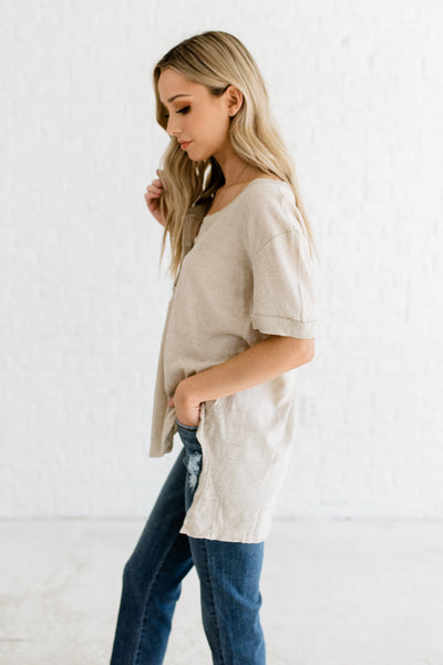 Heather Beige Ribbed Button Up Tops Affordable Online Boutique