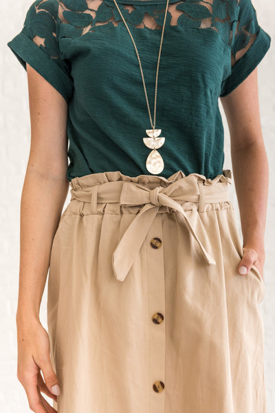 Beige Khaki Brown Paperbag Waist Midi Skirt for Office
